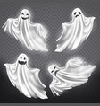 set of white ghosts halloween monsters vector image vector image