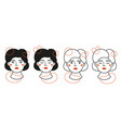 set with women heads and red abstract elements vector image vector image