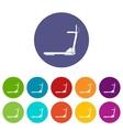 sport treadmill running road equipment set icons vector image vector image