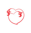 two red decoration heart on white background sign vector image vector image