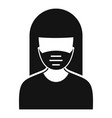 woman protect mask icon simple style vector image vector image