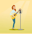 woman singing into a microphone vector image vector image