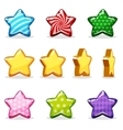 Cartoon colorful glossy stars set game animation vector image