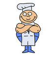 happy cook cartoon hand drawn image vector image