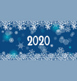 2020 year greeting blue banner with snowflakes vector image vector image