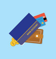 bank accounts book with wallet credit card and vector image