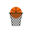basketball ball in ring emblem sports logo vector image vector image