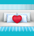 bedlinnen pillows cushions realistic composition vector image vector image