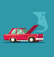 broken car road accident car with open hood vector image