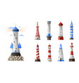 cartoon lighthouse different types set isolated on vector image