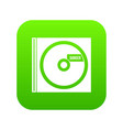 cd with danger lettering icon digital green vector image vector image