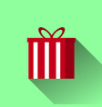 christmas gift icon with long shadow vector image vector image