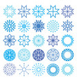 Christmas winter snowflakes and stars icons