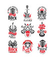 collection of vintage rock music emblems original vector image