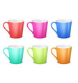 colorful 3d mugs empty coffee ceramic cup vector image