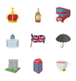 Country United Kingdom icons set cartoon style vector image vector image