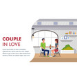 couple in love romantic dating in restaurant vector image