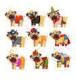 cute funny pug dog character in colorful funny vector image vector image