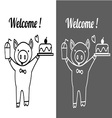 cute pig holding ice glass and cake with welcome vector image vector image