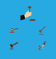flat icon court set of tribunal hammer law and vector image vector image