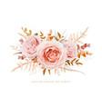 floral bouquet design blush peach roses fall leaf vector image