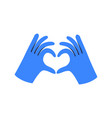 gloved hands making heart sign vector image vector image