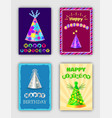 happy birthday cards set of vector image vector image