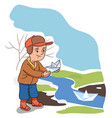 happy boy and spring launching paper boat vector image vector image