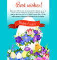 happy easter paschal egg greeting poster vector image vector image