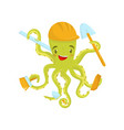 happy green octopus with working tools in vector image