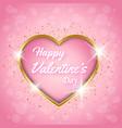 happy valentines day golden heart pink background vector image
