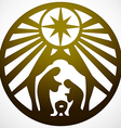 Holy family Christian silhouette icon gold white vector image