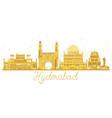 hyderabad india city skyline golden silhouette vector image vector image