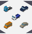 isometric car set of lorry truck suv and other vector image vector image