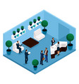 isometric office room front view vector image vector image