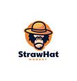 logo straw hat monkey mascot cartoon style vector image vector image