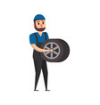 mechanic man with wheel vector image