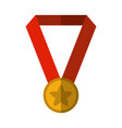 medal award success flat icon with shadow vector image