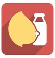 Mother Milk Bottle Flat Rounded Square Icon with vector image