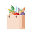 paper bag with purchases full packet with fresh vector image vector image