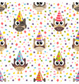 pattern with cute owls with hats and confetti vector image vector image