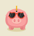 pink piggybank cartoon with glasses vector image vector image