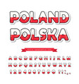 poland cartoon font polish national flag colors vector image