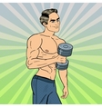 Pop Art Athletic Man Exercising with Dumbbells vector image vector image