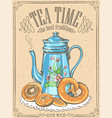 retro tea time with teapot and bakery vector image vector image
