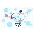 scientists in simulation room cyberspace people vector image vector image