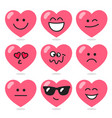 set comic hearts with different emotions vector image