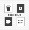 set of hand drawn silhouettes coffee shop posters vector image vector image
