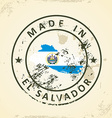 Stamp with map flag of El Salvador vector image