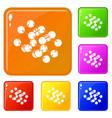 triple molecule icons set color vector image vector image